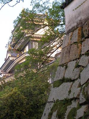 夕陽に映える岡山城