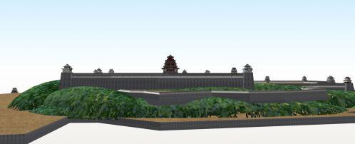 北から望む伏見城