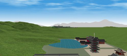 法住寺殿から見る伏見城