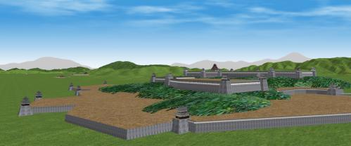 南西から望む伏見城