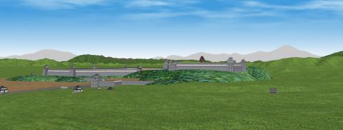 南東から見る伏見城