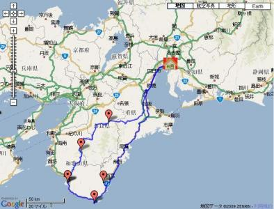 2008.10.18潮岬・龍神ツー走行map