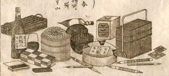 明治十二年四月出版 有馬温冷両泉分析表 物産略図