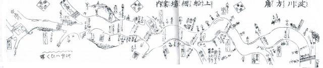 三十石船便覧の一部 (江戸末期) 本流の淀川から神崎川に分岐している。