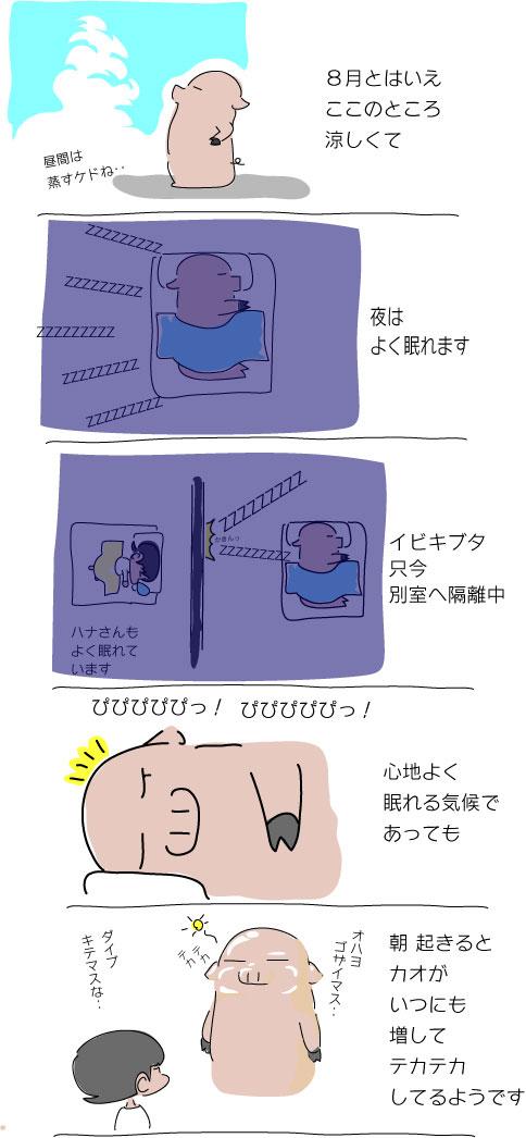 寝起きでテカテカ