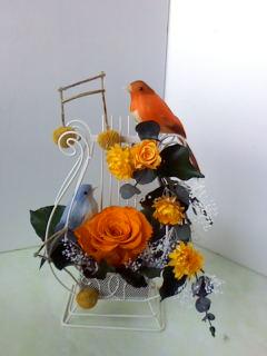 バラと小鳥のハーモニー