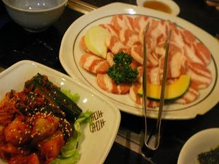 三枚肉とキムチセット