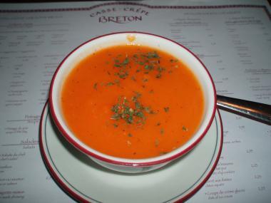 ケベックのクレープ屋さんのキャロットスープ