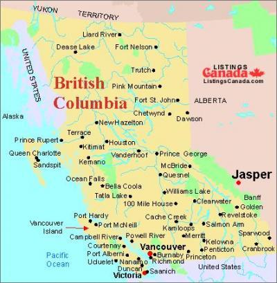 BC州&AB州の地図(Jasper)