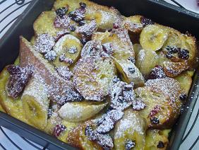 バナナとドライフルーツのパン・ペルデュ