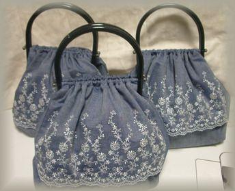 紺プラ持ち手バッグ3個