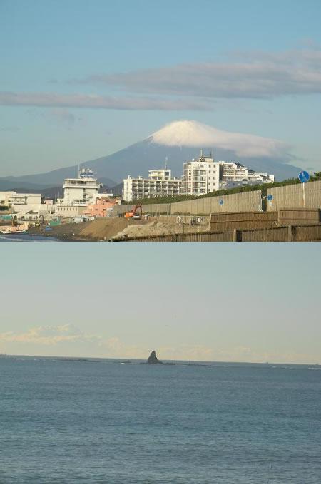 13日の富士山とエボシ岩