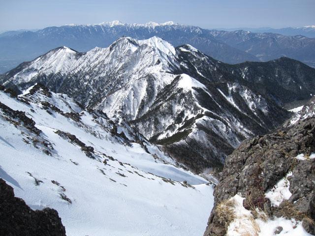 赤岳山頂手前からの展望