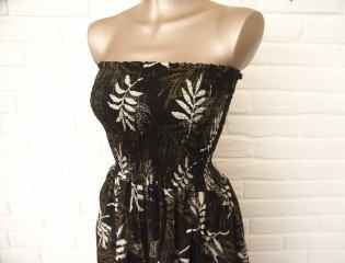 ハワイアンリゾートドレス 椰子の葉モチーフ