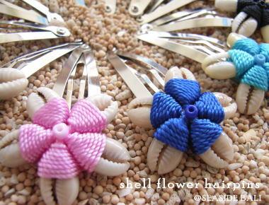 貝殻で作ったお花のヘアピン