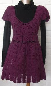 手編みのニットチュニックドレス