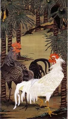 棕櫚雄鶏図