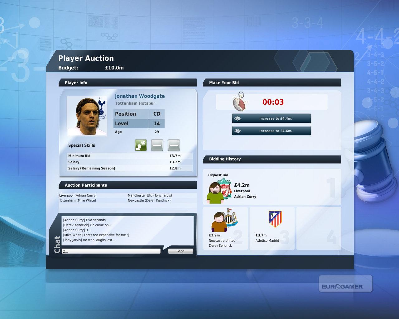 選手オークション画面