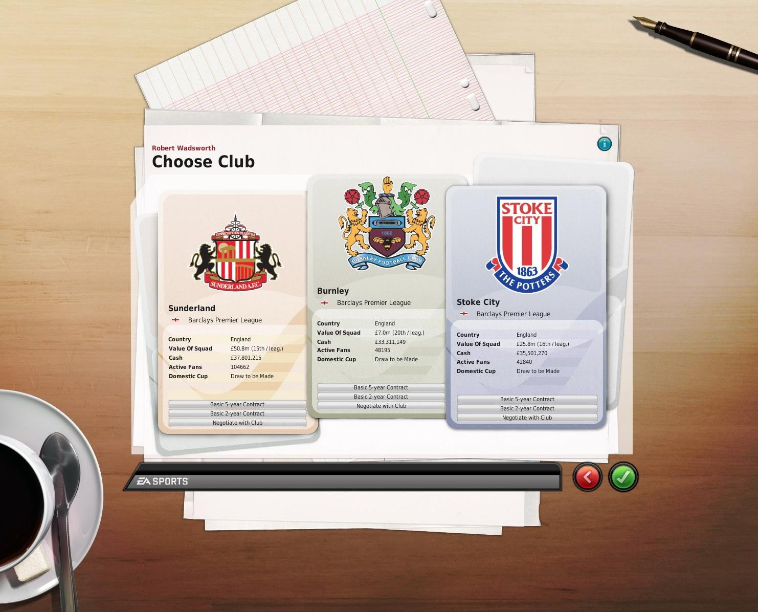 クラブ選択画面