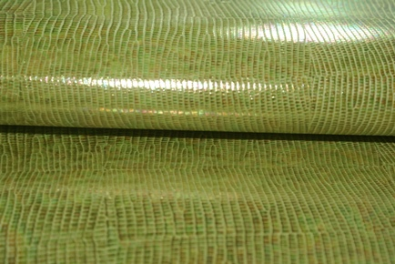 N0.200ライトグリーンリザード柄の革