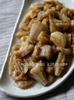 たたきレンコンとニンニクの炒め物