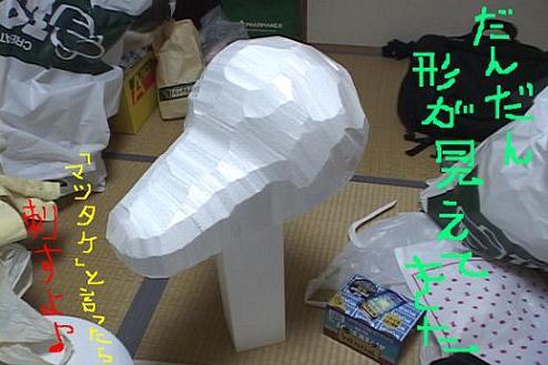 牛の頭骨製作中