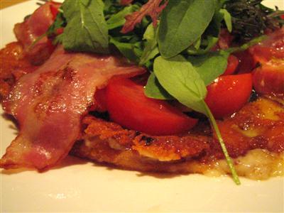 茄子、ベーコン、トマトのチーズガレット