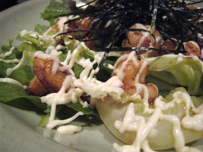 天然エビのプリプリソテー柚子胡椒風味刻み海苔と松田マヨネーズがけ