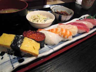 寿司定食の上
