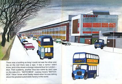 レズニー社の工場と通勤用の青いバス