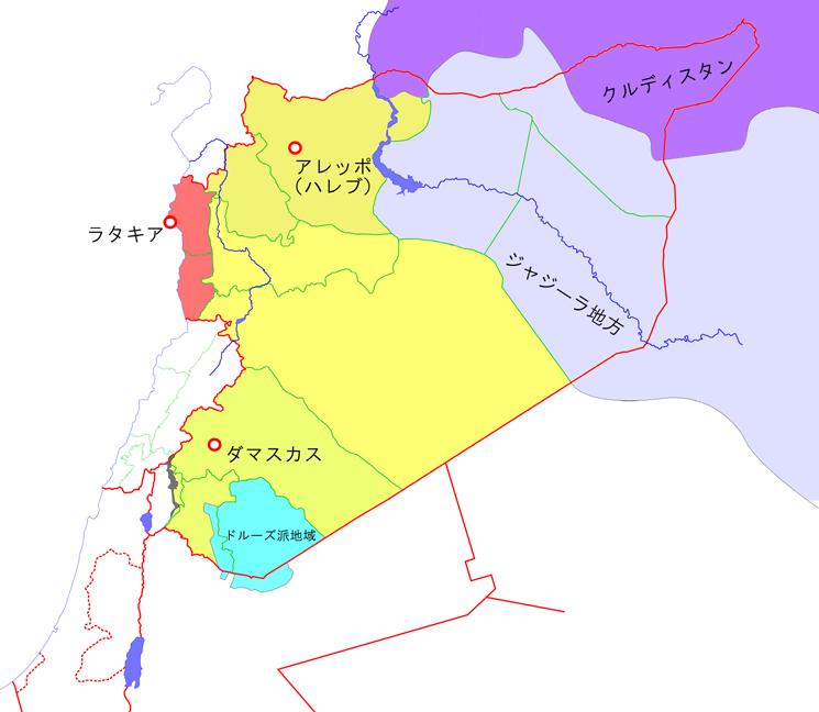 シリアの簡易民族地理