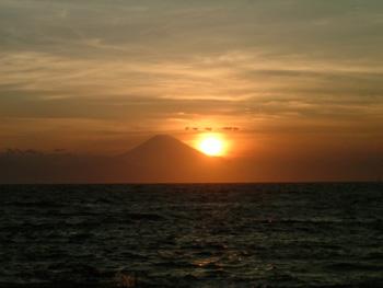 夕陽と富士山