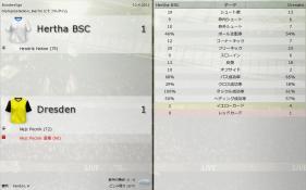 Hertha BSC 対 Dresden (分割画面)