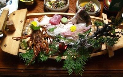 旅行 夕食の舟盛り