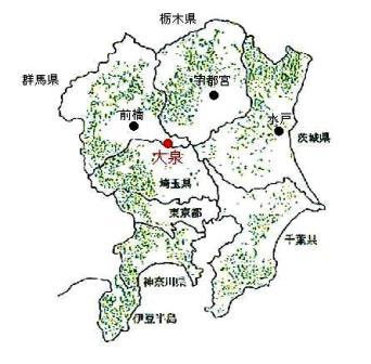 関東地方のスギ林の分布