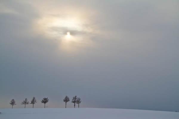 雪雲と太陽