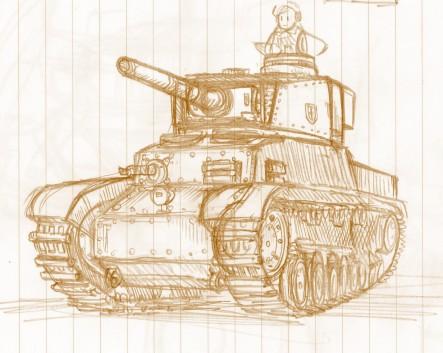 落書き中戦車