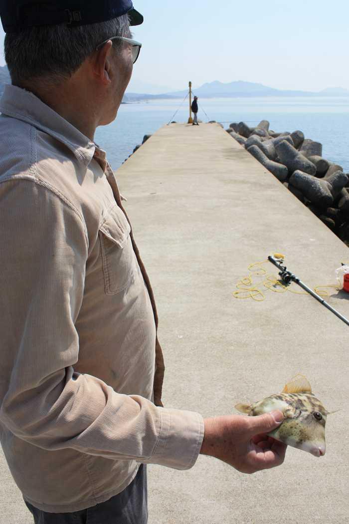 釣り人とカワハギ?