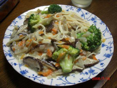 野菜の豆乳パスタ