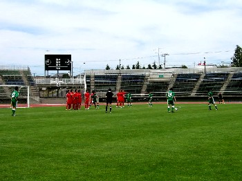 02 Jul 06 - The Toyota Motors wall prepares to get hit by a Sapporo free kick