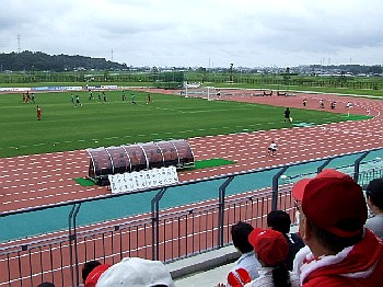 10 Sep 06 - In among the Honda Lock fans at the match with Tottori