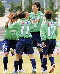 11 Jun 06 - Happy happy happy, Tottori celebrate on their way to beating RKU