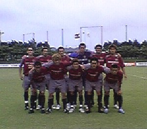 14 Jul 06 - JFL strugglers FC Ryukyu before their relegation battle with Mitsubishi Mizushima