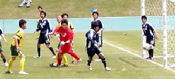 14 May 06 - Shinjo Club try to keep out Valiente in the Toyama derby match