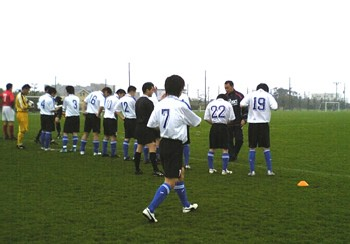 16 Apr 06 - Why so bashful? All Kamisu FC line up before their Kanto League debut