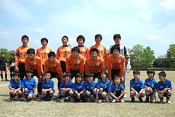 16 Apr 07 - Renofa Yamaguchi and young friends, prior to the game with Fujita