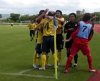 16 Jul 06 - New Wave Kitakyushu celebrate their goal against Volca Kagoshima