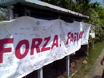 21 May 06 - A Fagiano Okayama banner at the match with JFE Steel