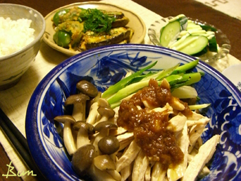 Aug20_鶏の酒蒸し梅味噌のせ
