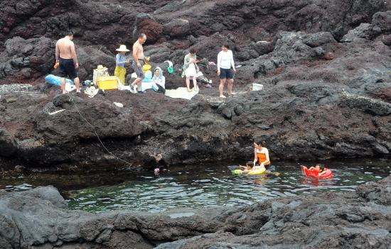 外洋の波が入らないので安全な遊泳場です